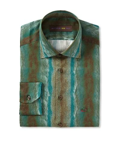 Etro Men's Spread Collar Hide Pattern Long Sleeve Shirt