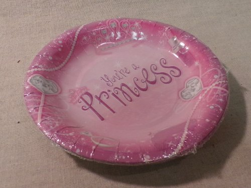 "Gartner Brand Small Paper Desert/Party Plates - pack of 8 (size: 6"" diameter): You're a Princess"