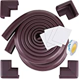 SySrion® 13.3ft (13ft Edge + 4 Corners) Edge Guard - and Corner Cushion - Premium Child Safety Home Safety Furniture Bumper and Table Edge Corner Protectors - COFFEE BROWN