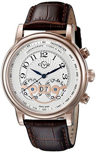 GV2by Gevril Hombre 8103Montreux Acero Inoxidable Reloj con Banda de piel, color marrón