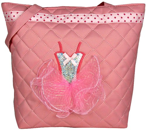 Girls Dance Tote Bag Light Pink Quilted with Sequin Ballerina Tutu Dress