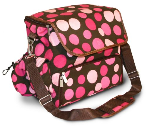 WhodaThought Mrs. Smith's Diaper Bag, Pink Polka Dot