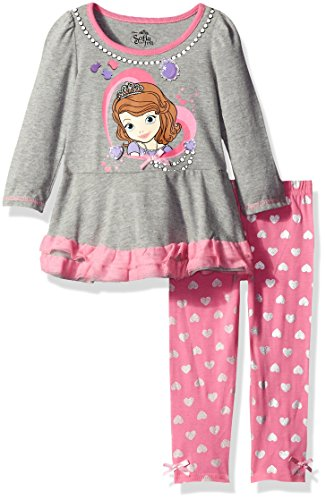 Disney Little Girls' 2 Piece Sofia the First Long Sleeve Top and Legging Set, Gray, 5 (Sofia The First Clothes compare prices)