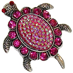 Turtle Ring, Adjustable, in Fuchsia with Burnished Silver Finish