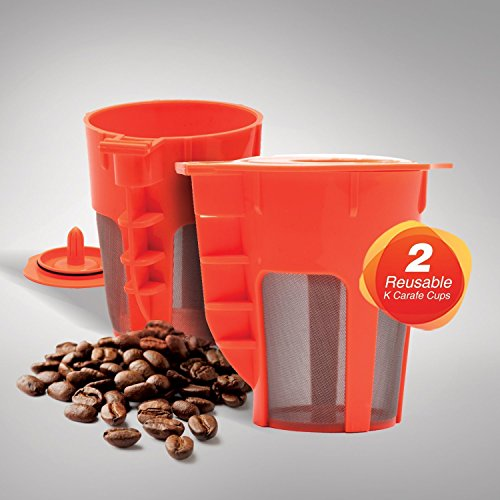 EZ BREW 2 Pack Reusable Carafe K-Cups. Reusable coffee filter for the Keurig 2.0, K200, K300, K400, K500 (Carafe Size K Cup compare prices)