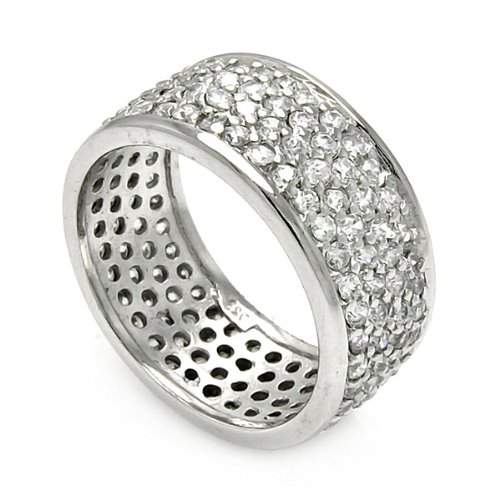 Rhodium Plated Sterling Silver 9mm High Polish 4 Row Pave Set Cubic Zirconia Eternity Wedding Band Ring (Sizes 5 to 9) - Size 8