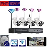 [Better Than 960P]SMONET 4Ch 1080P(1920x1080) HD Wireless Video Security System (NVR Kit)- Four 2.0MP Wireless Weatherproof Bullet IP Cameras,Plug and Play,65ft Night Vision,with 2TB Hard Drive