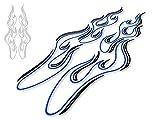 カッティングステッカー ピンストライプ風フレイムC 青×黒