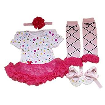 SDBING Set of 4 Newborn Infant Baby Girl's Headband +Romper +Leg Warmer +Shoes Outfit