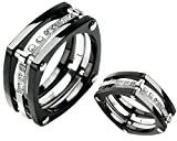 51RgmYKPC5L. SL160  Unique Titanium Ring Wedding Band with Lab grade Diamonds Size 8   Black Knight