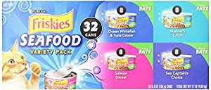 Friskies Wet Cat Food, Classic Pate, Seafood, 4-Flavor Variety Pack, 5.5-Ounce Can, Pack of 32