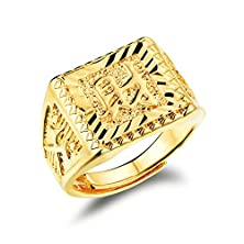 buy Opk Jewelry 6Mm Width 18K Yellow Gold Plated Mens Gold Carving Ring Property In Chinese Fashion Mens Jewelry, Adjustable