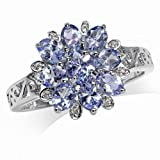 1.7ct. Genuine Tanzanite & White Topaz Gold Plated 925 Sterling Silver Flower Cluster Cocktail Ring