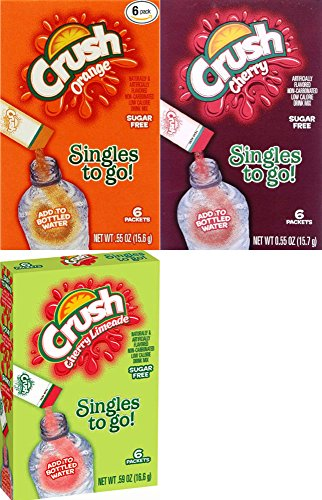 Crush Singles To Go 3 Flavor Variety Combo, Orange. Cherry & Cherry Limeade (Pack of 6) (Cherry Limeade Soda compare prices)