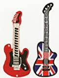 Guitar Motifs Red Guitar and Union Jack Guitar Ironsewglue on embroidery patches x 2 assorted