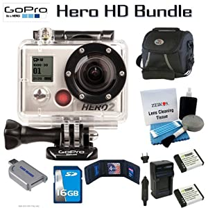 GoPro HD HERO2-Latest Model Outdoor Edition 16 GB, 2 Extra Batteries and Charger kit Bundle