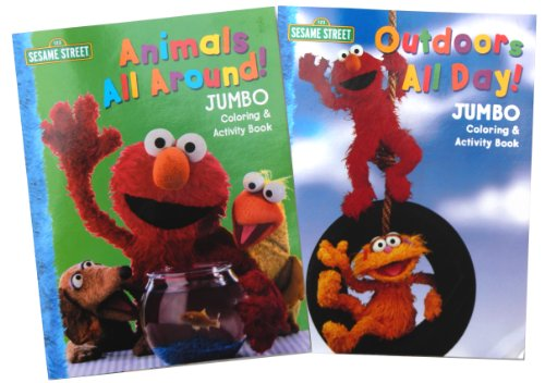 "Sesame Street Coloring Books (Set of 2) ""Animals All Around"" and ""Outdoors All Day"""