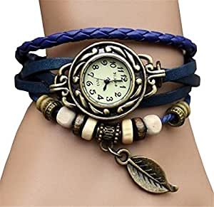 WAWO Quartz Fashion Weave Wrap Around Leather Bracelet Lady Woman Wrist Watch (Blue leaf)