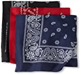 Levis Mens 3 Piece Bandana Set, Black/Red/Navy, 20x20