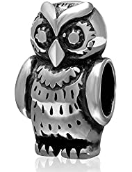 Choruslove Thick Owl Charm Anthentic Antique 925 Sterling Silver Animal Bead For European Snake Chain Bracelet...