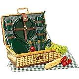 Picknickkoffer Picknickkorb mit Inhalt für 4 Personen