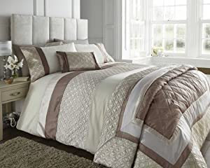 King Size Bed Durban Stone Duvet / Quilt Cover Set, Natural Beige / Brown / Cream Quilted Effect Satin Stripe