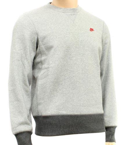New Nike Mens Grey Fleece Crew Sweatshirt Sweatshirt Size XL