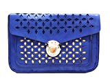 The Peacock Craft Womens Hand Bag Cutwork Sling (Blue)