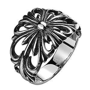 TIDOO Jewelry Punk Series Mens Vintage Gothic Biker Ring Chrome Hearts