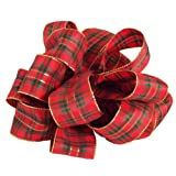 Offray New Year Holiday Plaid Wired Ribbon, 1 1/2