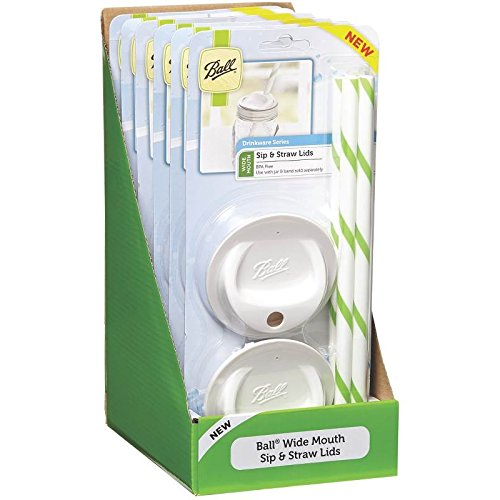 Ball Sip & Straw Lids Wide Mouth Set Of 4,6 Pack (Ball Sip And Straw Lids compare prices)