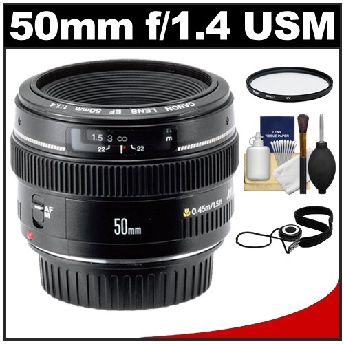 Canon EF 50mm f/1.4 USM Lens + UV Filter + Accessory Kit for Canon EOS 60D, 7D, 5D Mark II III, Rebel T3, T3i, T4i Digital SLR Cameras