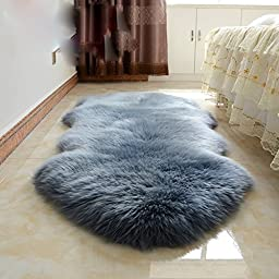 Wolala Home Luxury Sheepskin Wool Area Rug Window Mats Super Soft Shaggy Rugs Home Decorator Floor Rug Livingroom Carpet (5\'0x2\'5, Blue Gray)