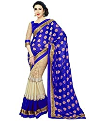 Kuvarba Fashion Blue Georgette Saree with Blouse Piece