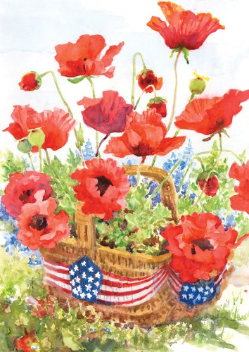Toland Home Garden Patriotic Poppies Flag 111180