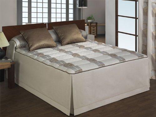 Colcha edredón jacquard Sisai - cama 105 cm - Marrón
