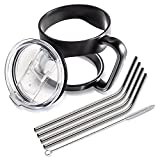 [Bonus-Pack] Complete 30 oz Tumbler Bundle - Premium Cup Handle + Spill Proof Slide Lid + Extra Long Stainless Steel Drinking Straws for YETI - RTIC - Ozark Trail - Arctic - ORCA - SIC Ramblers