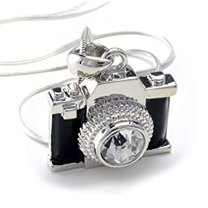 Silvertone Miniature Black Crystal Camera Pendant Necklace 18