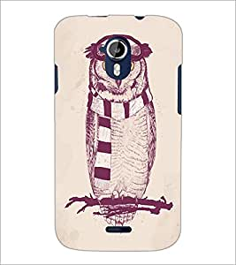 PrintDhaba Owl D-1246 Back Case Cover for MICROMAX A116 CANVAS HD (Multi-Coloured)