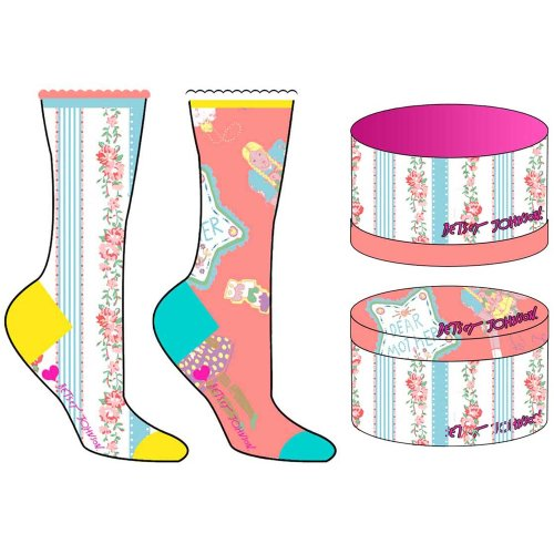 White Multi-color Betsey Johnson 2 Pack Doll House Socks Gift Box
