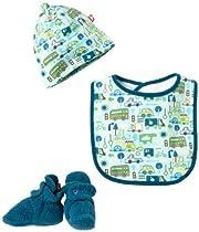 Zutano Baby-Boys Newborn Road Trip Bib Hat Bootie Set, Multi, 18 Months