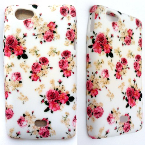 SONY XPERIA MIRO ST23I PINK ROSES IN WHITE SILIKON CASE COVER HÜLLE