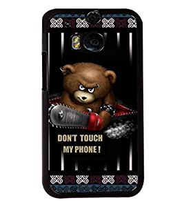 PRINTVISA Don't Touch my phone Premium Metallic Insert Back Case Cover for HTC One M8 - D5934