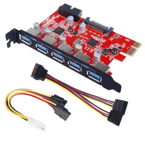 [5 ports+ 20pin]Inateck PCI Carte USB 3.0 5 Ports USB 3.0 connecteur à 20 broches avec connecteur 15 broches Sata, un 4 broches 2x15pin câble, une Y-câble prise SATA