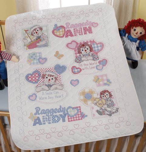 Bucilla Baby 45663 Stamped Cross Stitch Crib Cover, Heart To Heart front-86371