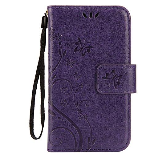 IKASEFU Pure Color Retro Butterfly Design Folio Leather Wallet Case Cover with Strap for Samsung Galaxy S3 Mini-Butterfly,Purple (Folio Samsung S3 Mini compare prices)