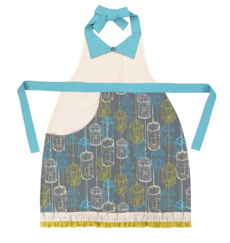 Sarah Watts Kitchen Linen Birdcage Adult Apron, Blue/Grey