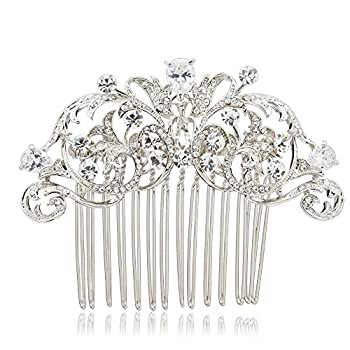 Sepjewelry 2253R Vintage Style CZ Rhinestone Hair Comb Pin Clip