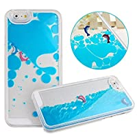 Swimming Dolphins Case for iPhone 6,Liquid Case for iPhone 6,Dolphins Case for iPhone 6,MANBO Creative Design Flowing Liquid Swimming Dolphins Hard Case For iPhone 6 4.7 inch - Blue by MANB