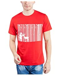 TOMO Men's Cotton Red Color Round Neck DEEP FOREST Printed T-shirt